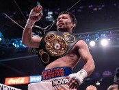 Boxer Manny Pacquiao after defeating Keith Thurman in Nevada after winning Thurman's Welterweight belt