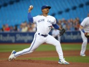 Former Toronto Blue Jays pitcher Marcus Stroman pitches against the Tampa Bay Rays
