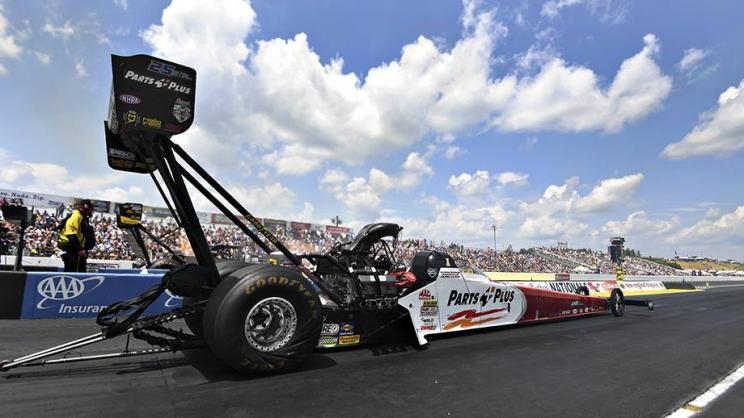Top Fuel Dragster pilot Clay Millican racing on Saturday at the NHRA New England Nationals