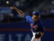 New York Mets pitcher Noah Syndergaard pitches against the Miami Marlins