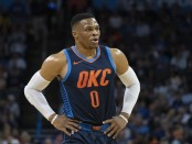 Former Oklahoma City Thunder guard Russell Westbrook stands with his hands on his waist against the Sacramento Kings