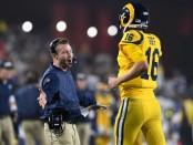 Los Angeles Rams head coach Sean McVay celebrates a touchdown with quarterback Jared Goff against the Kansas City Chiefs