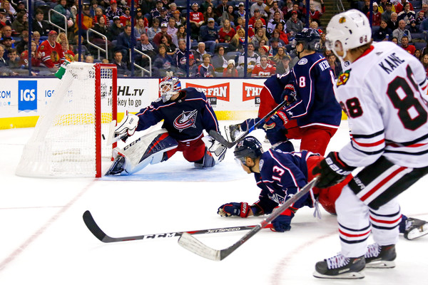 Former Columbus Blue Jackets goalie Sergei Bobrovsky attempts to block a shot from Patrick Kane against the Chicago Blackhawks