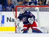 Former Columbus Blue Jackets goaltender Sergei Bobrovsky follows the puck during a game against the Colorado Avalanche