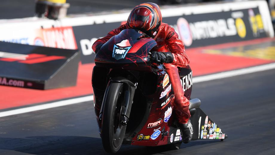 Pro Stock Motorcycle rider Matt Smith racing on Saturday at the Dodge Mile-High NHRA Nationals