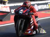 Pro Stock Motorcycle rider Matt Smith racing on Saturday at the Dodge Mile-High NHRA Nationals