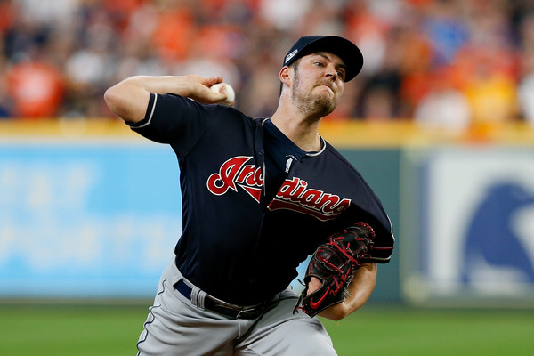 Cleveland Indians pitcher Trevor Bauer pitching against the Houston Astros in the 2018 MLB Playoffs