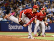 Former Los Angeles Angels pitcher Tyler Skaggs throws a pitch against the Tampa Bay Rays