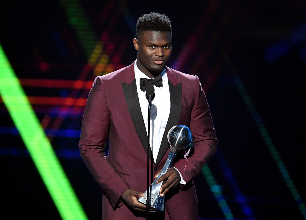 New Orleans Pelicans forward/center Zion Williamson accepts the Best College Athlete Award at the 2019 ESPY's