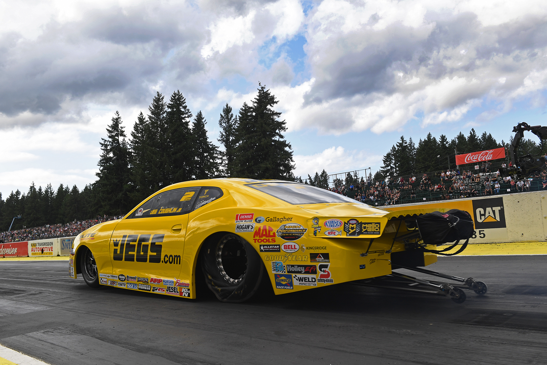 Pro Stock driver Jeg Coughlin Jr. racing on Friday at the 2019 Magic Dry Organic Absorbent NHRA Northwest Nationals