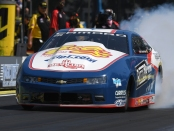 Pro Stock driver Matt Hartford racing on Sunday at the 2019 Magic Dry Organic Absorbent NHRA Northwest Nationals