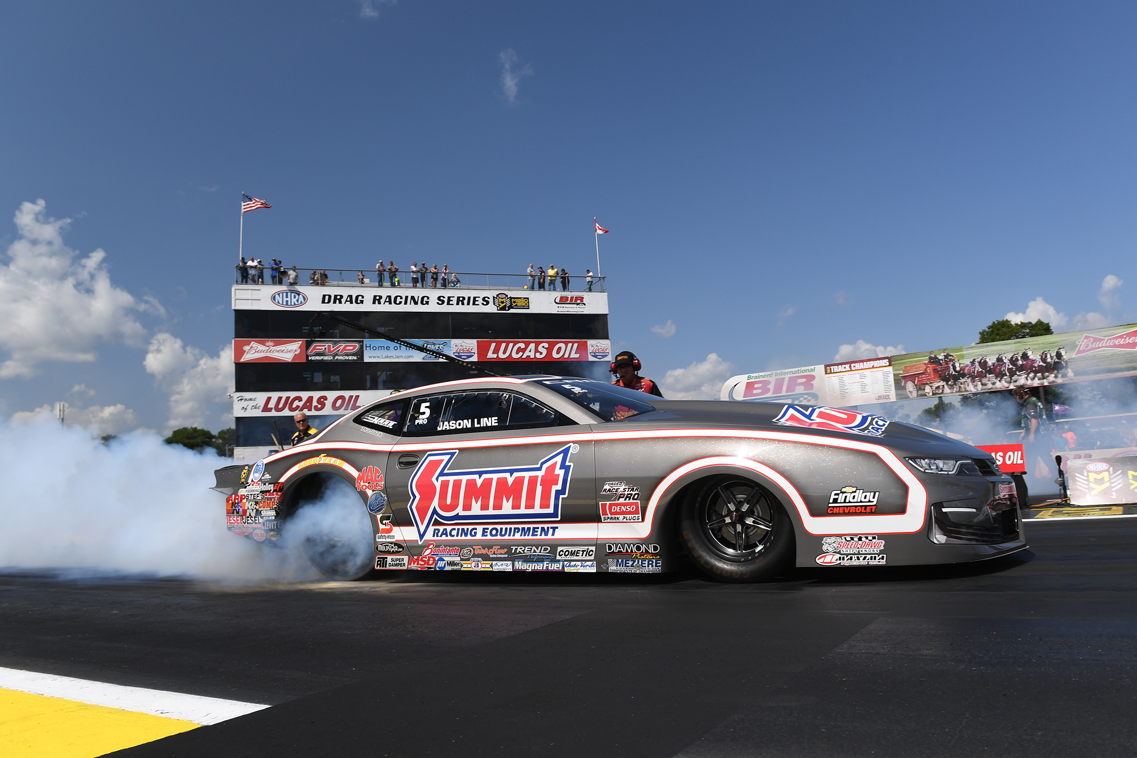 Pro Stock driver Jason Line is the provisional leader on Friday at the 2019 Lucas Oil NHRA Nationals