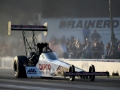 Top Fuel Dragster pilot Steve Torrence racing on Friday at the 2019 Lucas Oil NHRA Nationals