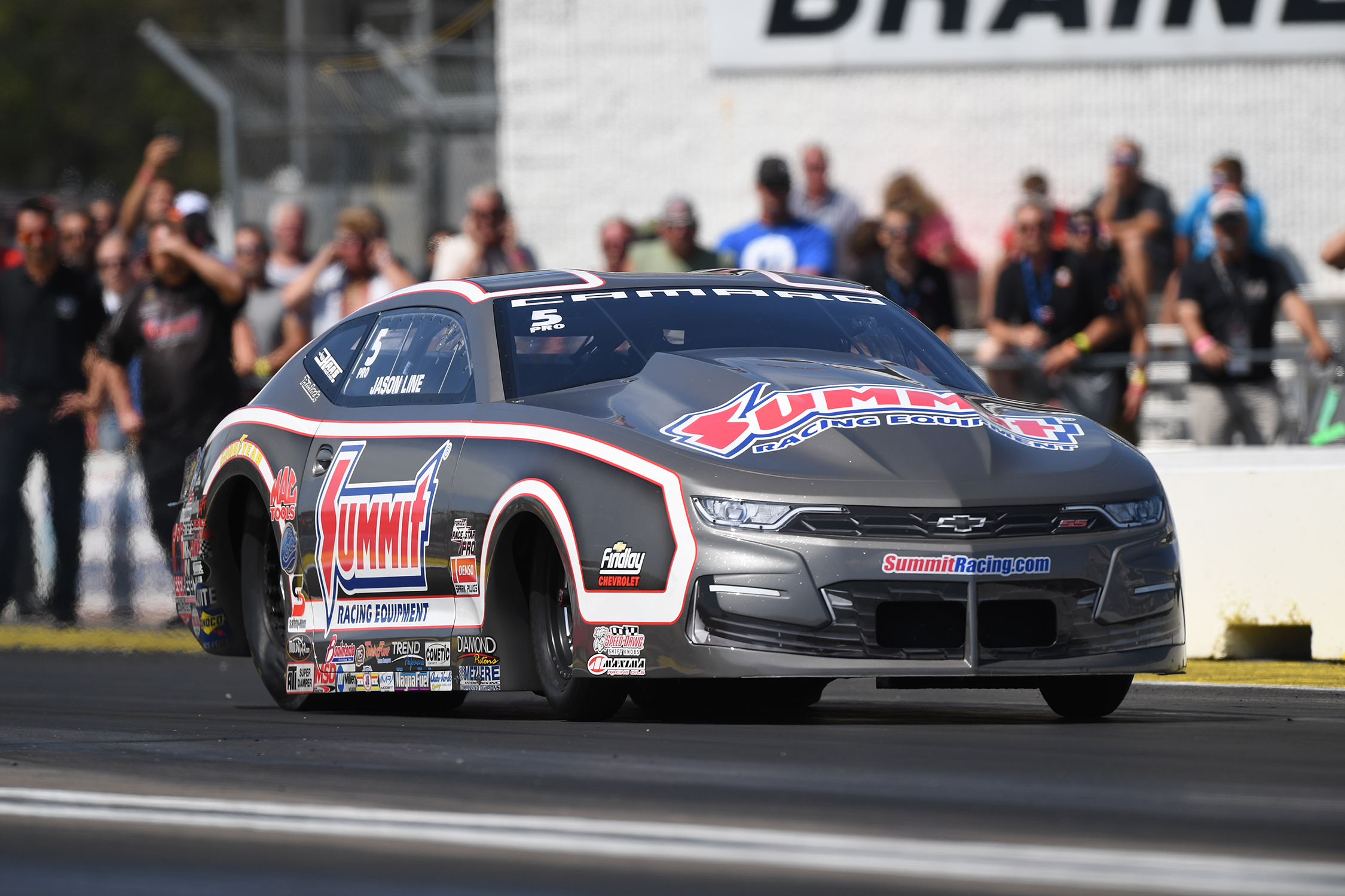 Pro Stock driver Jason Line racing on Saturday at the 2019 Lucas Oil NHRA Nationals