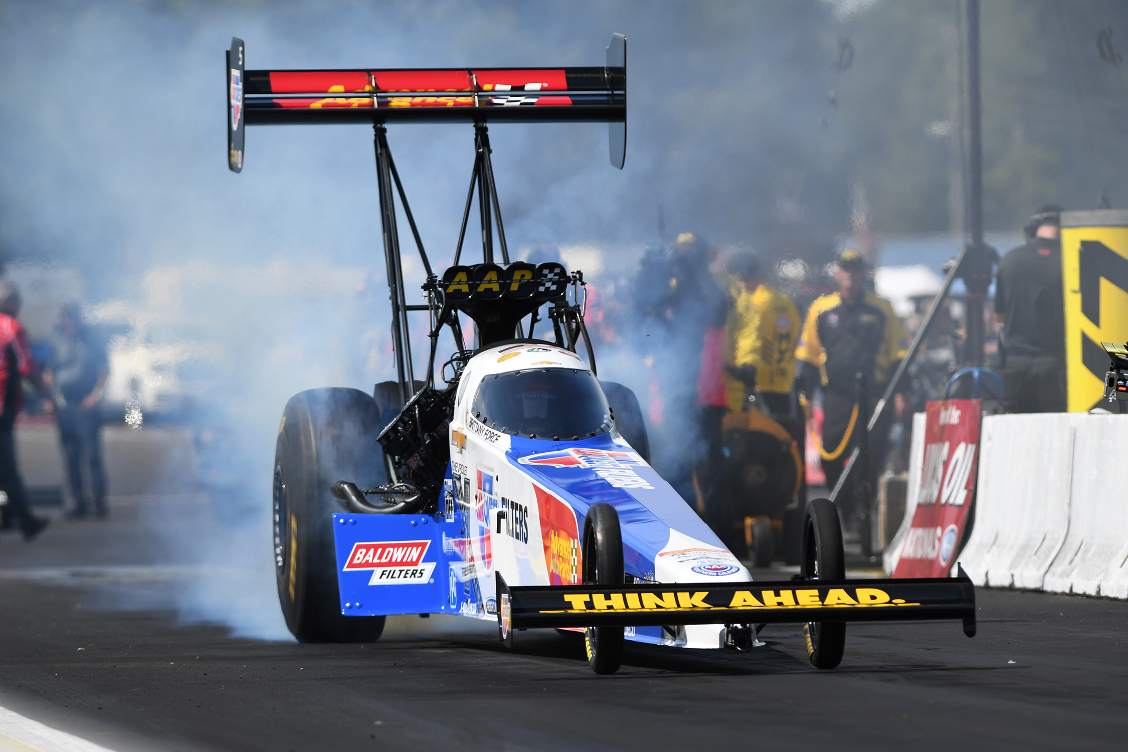Top Fuel Dragster pilot Brittany Force racing on Saturday at the 2019 Lucas Oil NHRA Nationals