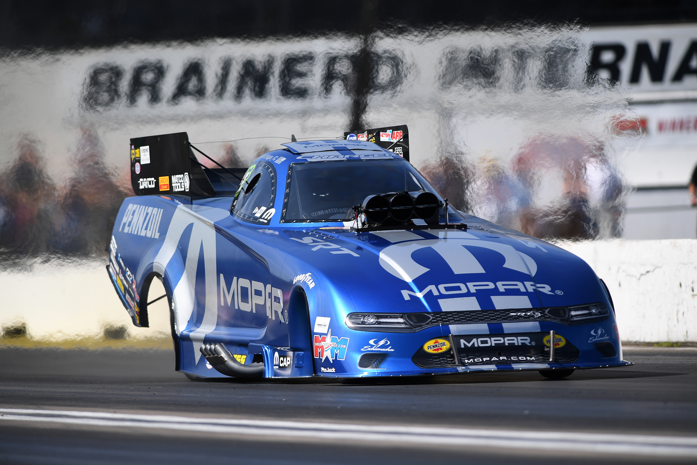 Funny Car pilot Matt Hagan racing on Saturday at the 2019 Lucas Oil NHRA Nationals