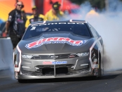 Pro Stock driver Jason Line racing on Sunday at the 2019 Lucas Oil NHRA Nationals