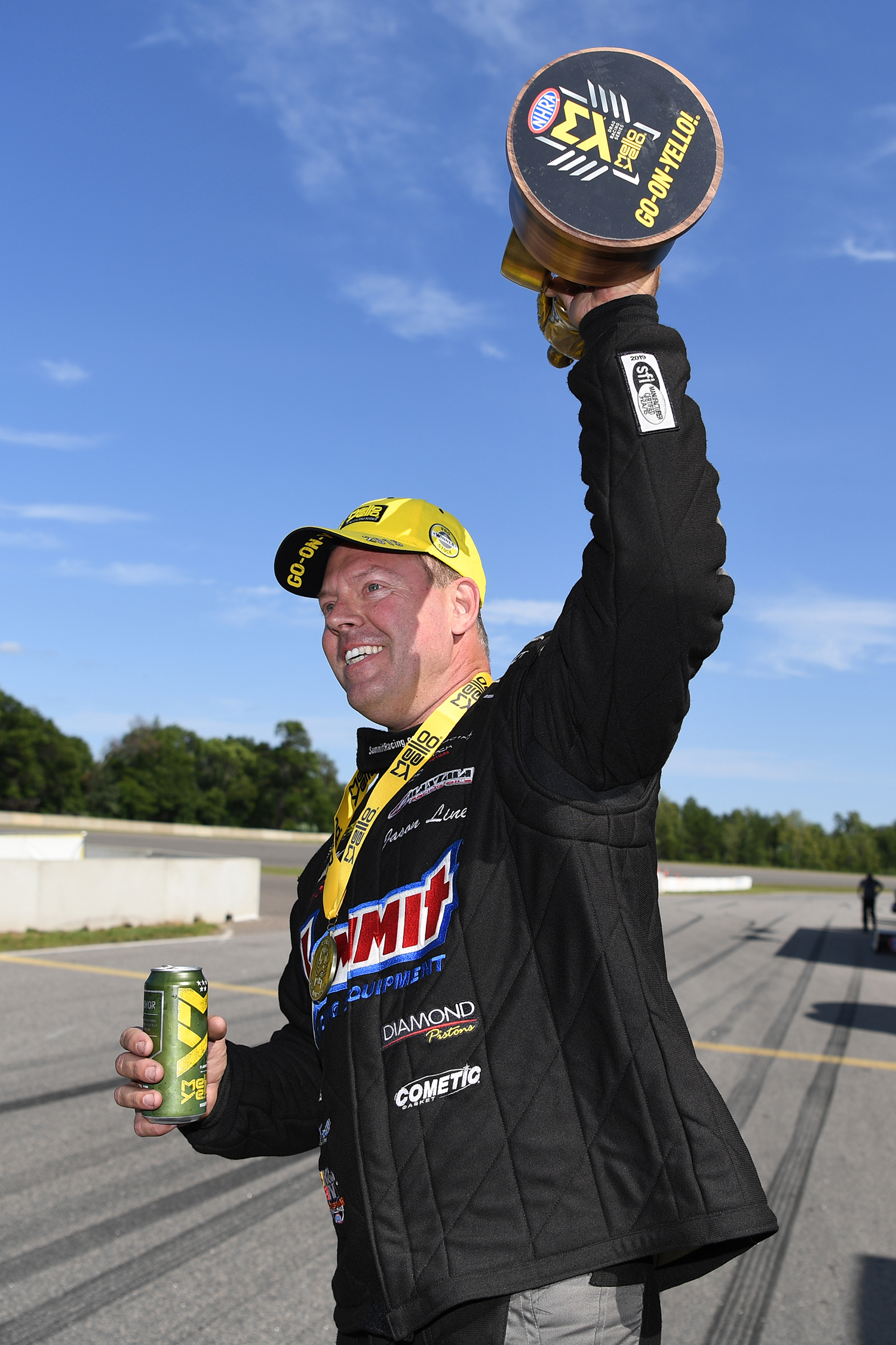Pro Stock driver Jason Line after winning the Wally at the 2019 Lucas Oil NHRA Nationals