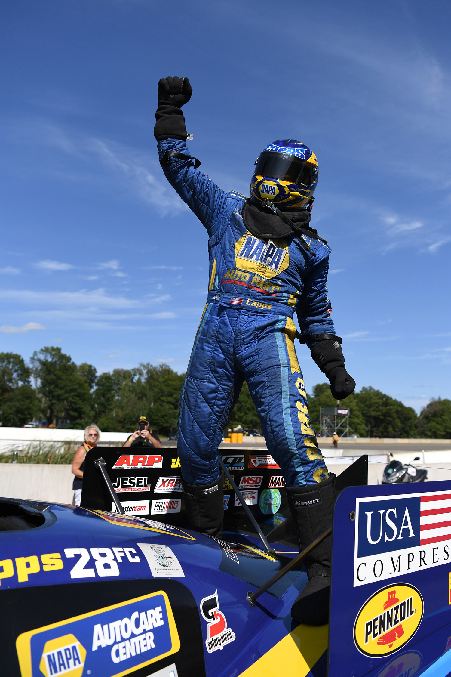 Don Schumacher Racing Funny Car pilot Ron Capps after winning the 2019 Lucas Oil NHRA Nationals