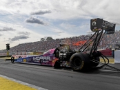 Top Fuel Dragster pilot Leah Pritchett racing on Sunday at the 2019 Lucas Oil NHRA Nationals