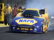 Funny Car pilot Ron Capps racing on Sunday at the CatSpot NHRA Northwest Nationals