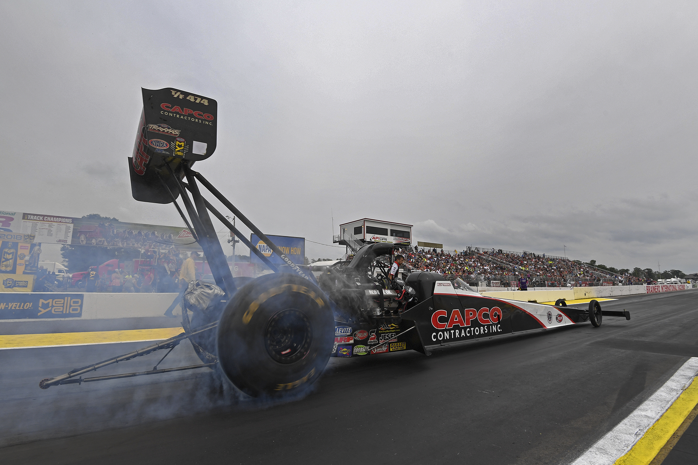 Top Fuel Dragster pilot Billy Torrence racing on Sunday at the 2018 Lucas Oil NHRA Nationals
