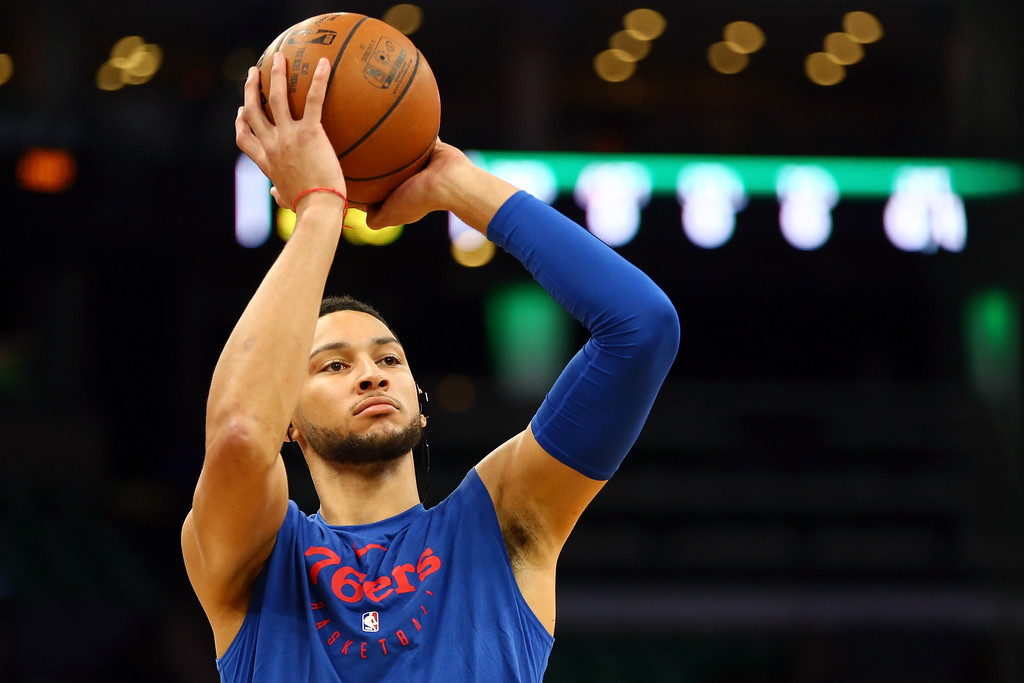 Philadelphia 76ers guard Ben Simmons warning up before a game against the Boston Celtics