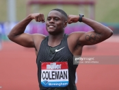 Sprinter Christian Coleman celebrates his win in the Men's 100m Final at the Muller Grand Prix Birmingham IAAF Diamond League 2018