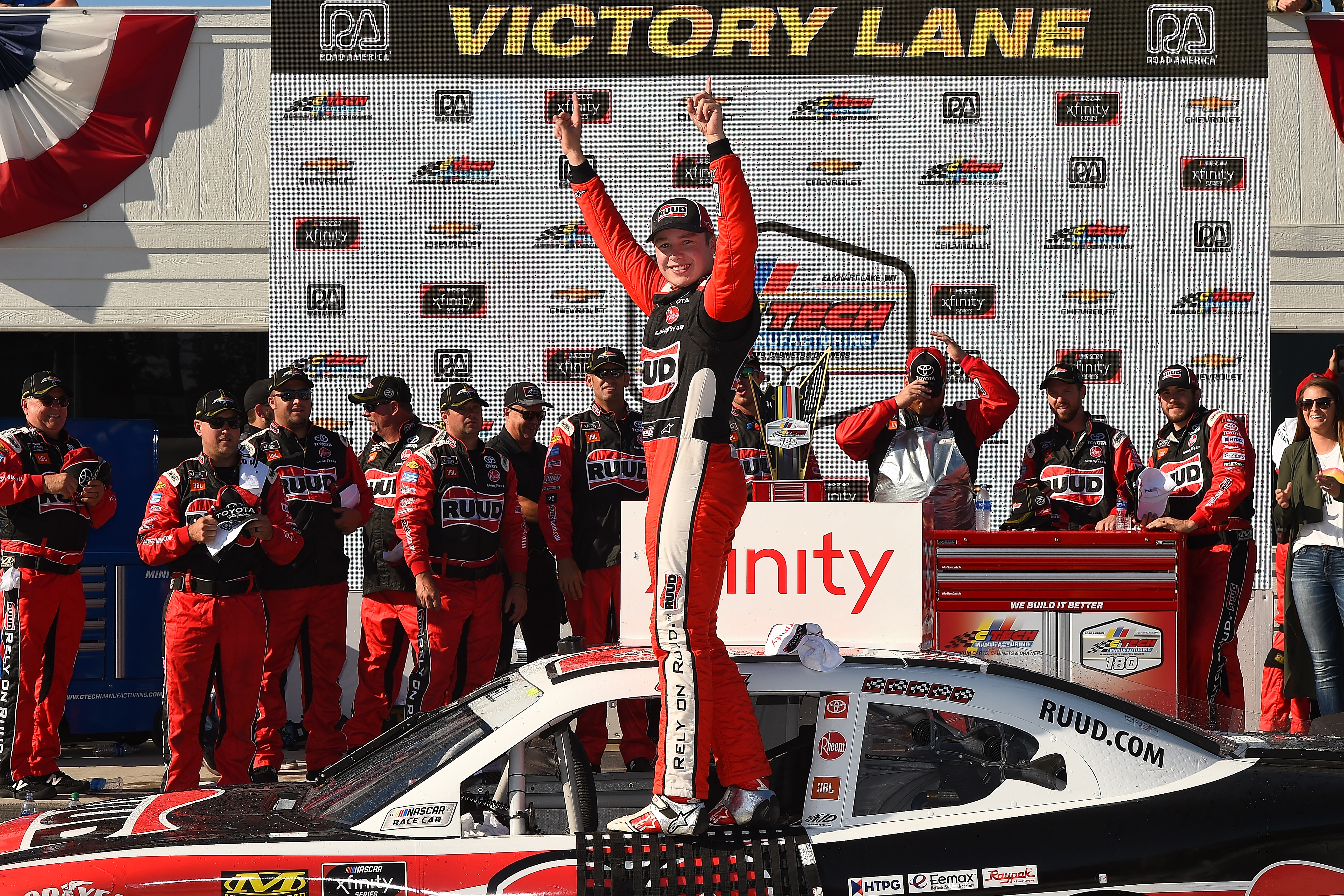 Driver Christopher Bell celebrates in Victory Lane after winning the NASCAR Xfinity Series CTECH Manufacturing 180