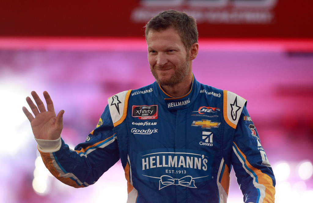 Racing great Dale Earnhardt Jr. is introduced prior to the NASCAR Xfinity Series Go Bowling 250