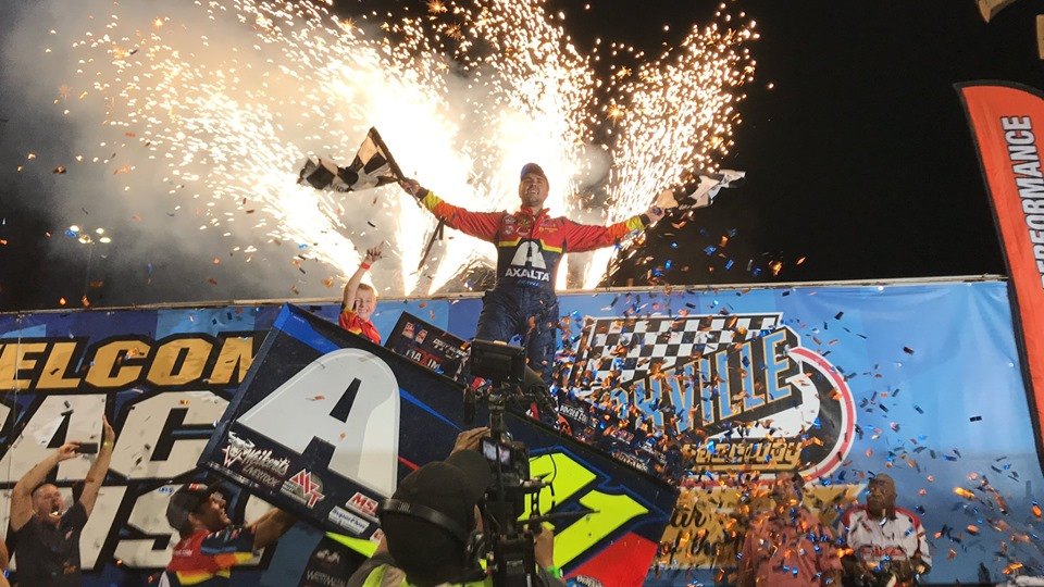 Sprint Car driver David Gravel after winning the 2019 Knoxville Nationals