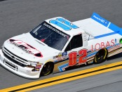 Driver Tyler Dippel driving during practice for the NASCAR Gander Outdoors Truck Series NextEra Energy 250
