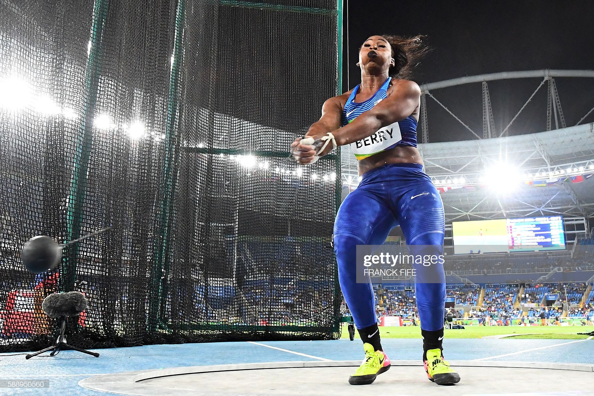 American athlete Gwen Berry competing at the Women's Hammer Throw Qualifying Round during the Rio 2016 Olympic Games