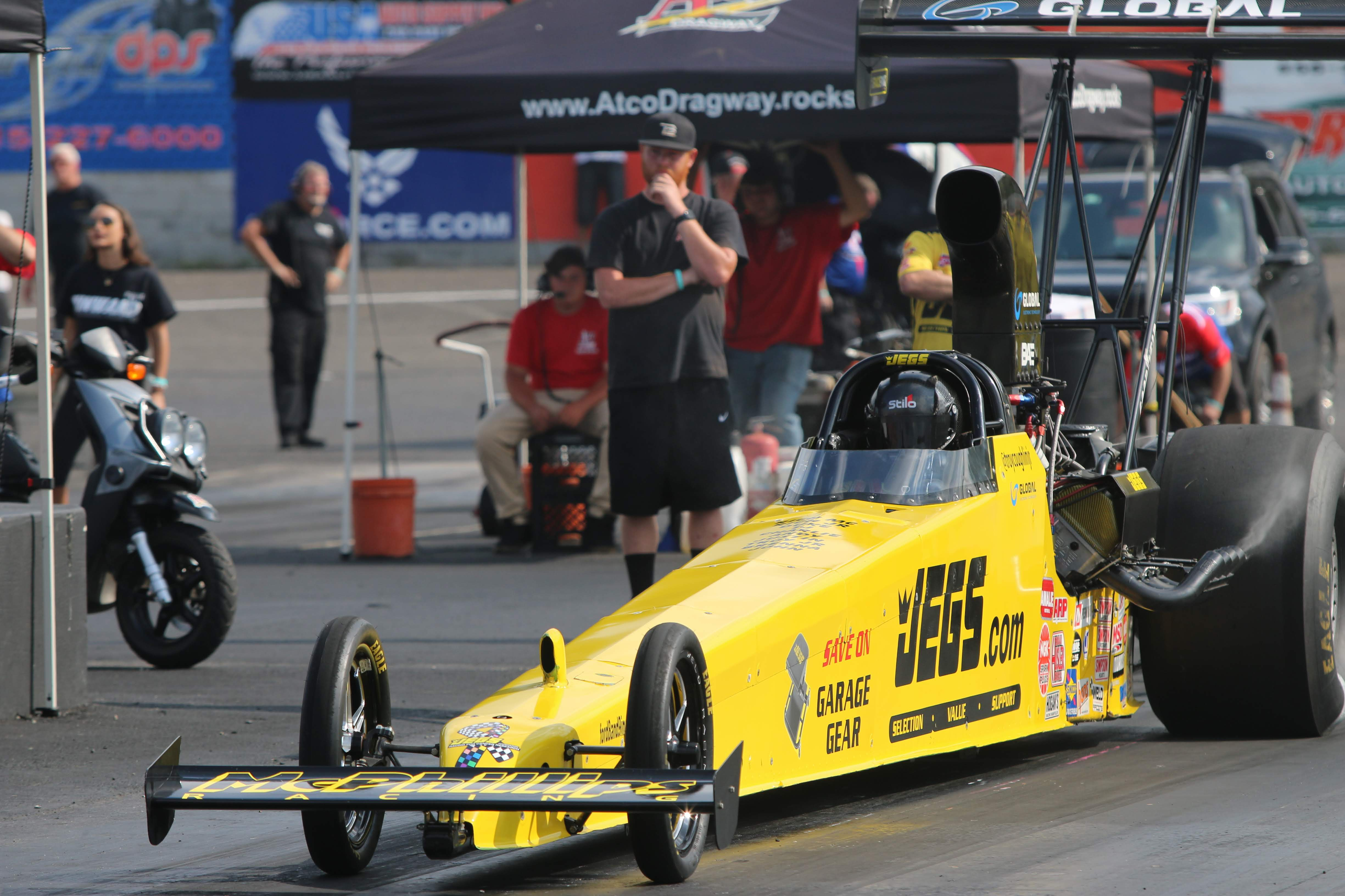 Top Alcohol Dragster driver Troy Coughlin Jr. racing on Saturday at the 2019 Atco Divisional