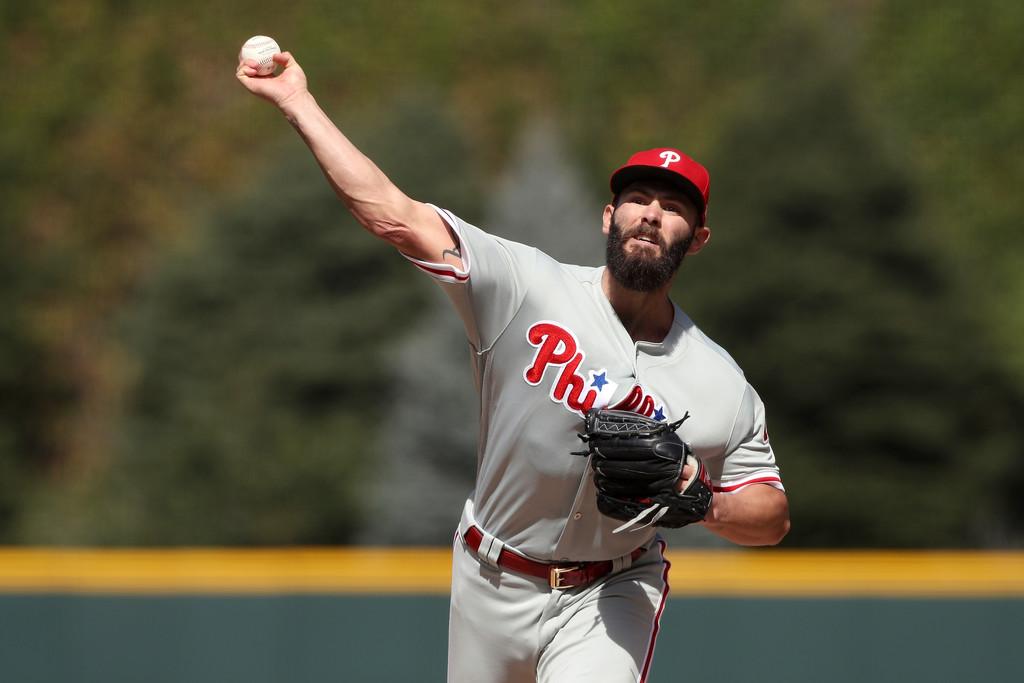 Philadelphia Phillies pitcher Jake Arrieta throws a pitch against the Colorado Rockies
