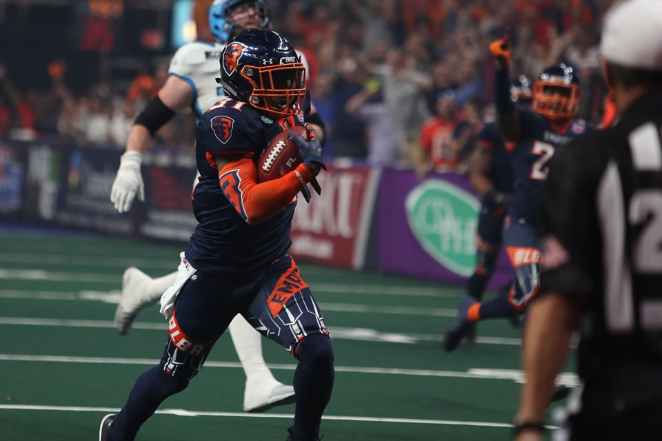 Albany Empire defensive back Maurice Leggett returning an interception for a touchdown against the Philadelphia Soul in ArenaBowl 32 (Photo by the Arena Football League/Facebook)
