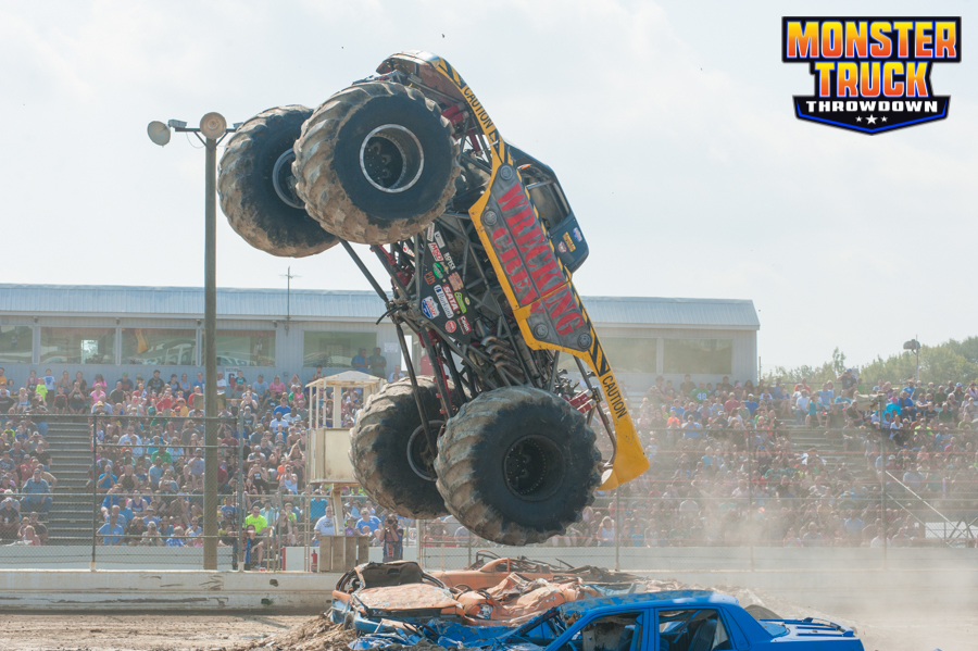 Monster Truck driver Mike Thompson in the Wrecking Crew Monster Truck during an event