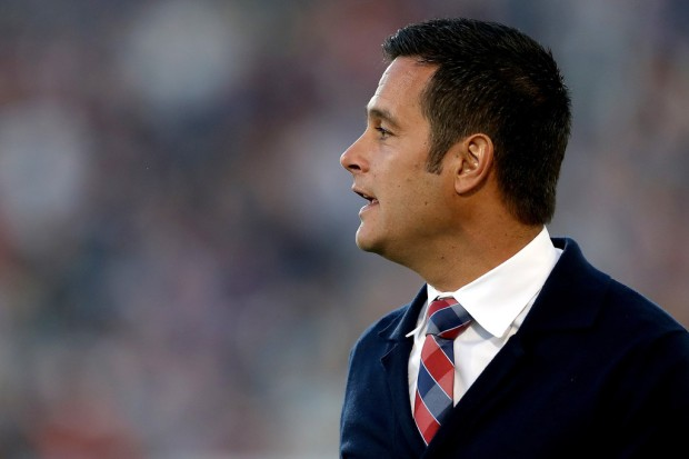 Former Real Salt Lake head coach Mike Petke watches from the sidelines against the Colorado Rapids