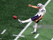 Former New England Patriots punter Ryan Allen punting to the Los Angeles Rams in Super Bowl LIII