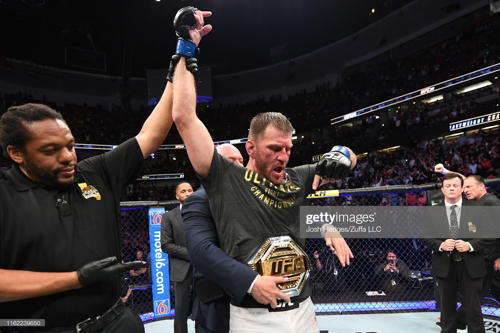 UFC Fighter Stipe Miocic after winning the UFC Heavyweight Championship after defeating Daniel Cormier at UFC 241