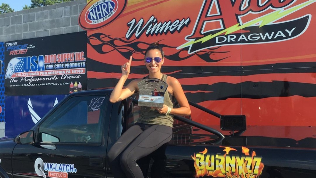 Drag Racer Taylor Iacono is seen here celebrating a win at her home track at Atco Dragway