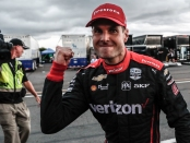 IndyCar driver Will Power celebrating after winning the 2019 ABC Supply 500