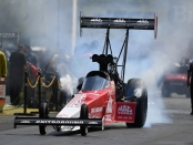 Top Fuel Dragster pilot Doug Kalitta racing on Monday at the 2019 Chevrolet Performance U.S. Nationals