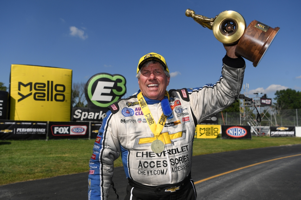 Living legend John Force with the Wally after winning the Chevrolet Performance U.S. Nationals