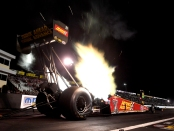 Advance Auto Parts Top Fuel Dragster pilot Brittany Force racing on Friday at the Mopar Express Lane NHRA Nationals presented by Pennzoil