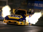 NAPA Auto Parts Filters Funny Car pilot Ron Capps racing on Friday at the Mopar Express Lane NHRA Nationals presented by Pennzoil