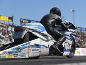 White Alligator Racing Pro Stock Motorcycle rider Jerry Savoie racing on Sunday at the Mopar Express Lane NHRA Nationals presented by Pennzoil