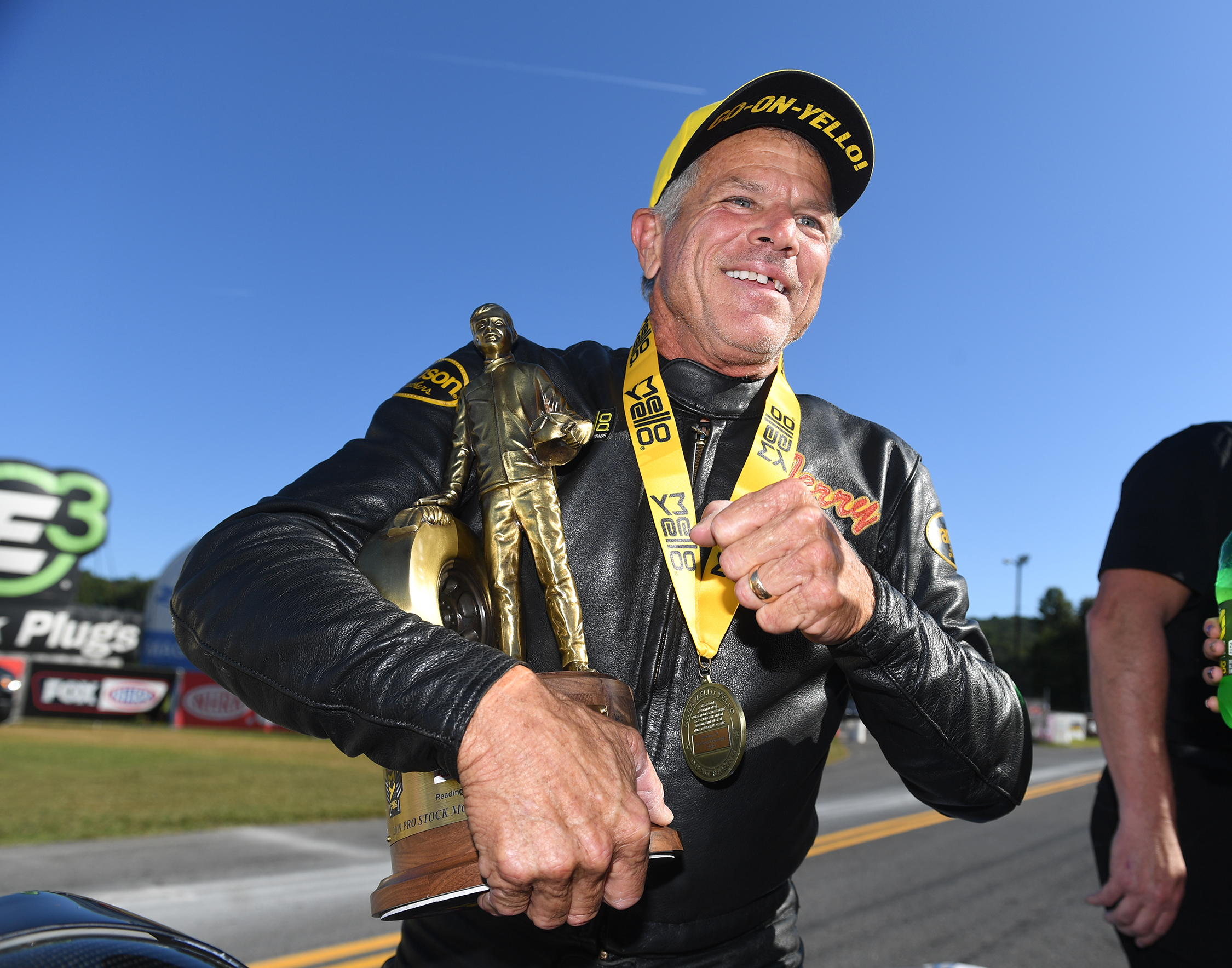White Alligator Racing Pro Stock Motorcycle rider Jerry Savoie with the Wally after winning the Mopar Express Lane NHRA Nationals presented by Pennzoil