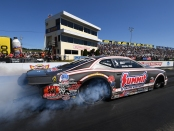 Summit Racing Equipment Pro Stock driver Jason Line racing on Sunday at the Mopar Express Lane NHRA Nationals presented by Pennzoil
