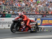 Denso sponsored Matt Smith Racing Pro Stock Motorcycle rider Matt Smith is the No. 1 qualifier at the AAA Insurance NHRA Midwest Nationals
